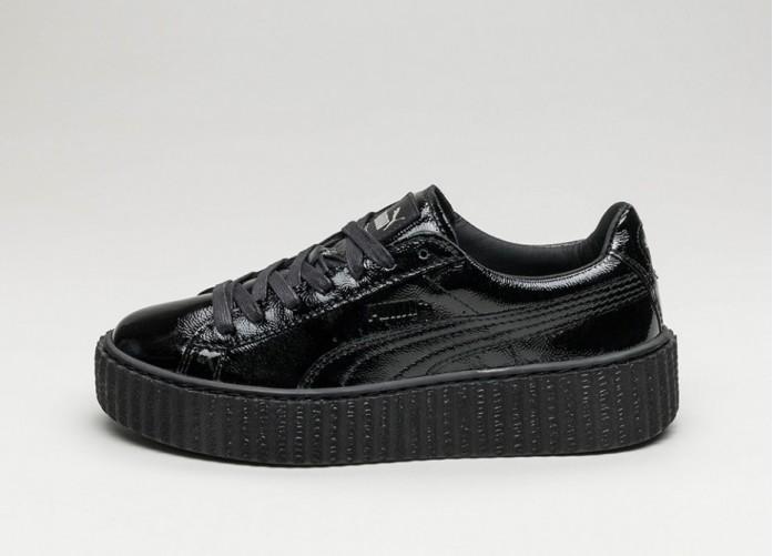 Мужские кроссовки Puma x Rihanna Creeper *Wrinkled Patent* (Puma Black / Puma Black / Puma Black) | Интернет-магазин Sole