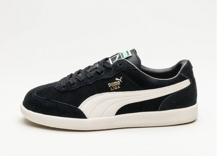 Мужские кроссовки Puma Liga Suede Perforated (Puma Black / Whisper White / Puma Team Gold) | Интернет-магазин Sole