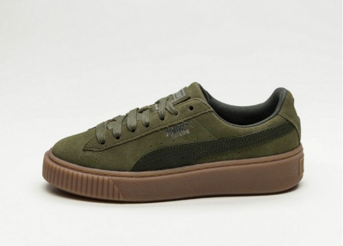 Мужские кроссовки Puma Suede Platform Animal (Olive Night / Silver) | Интернет-магазин Sole