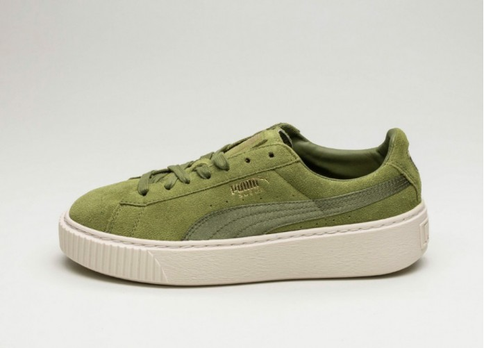 Мужские кроссовки Puma Suede Platform Mono Satin (Olive Branch / Whisper White / Puma Team Gold) | Интернет-магазин Sole