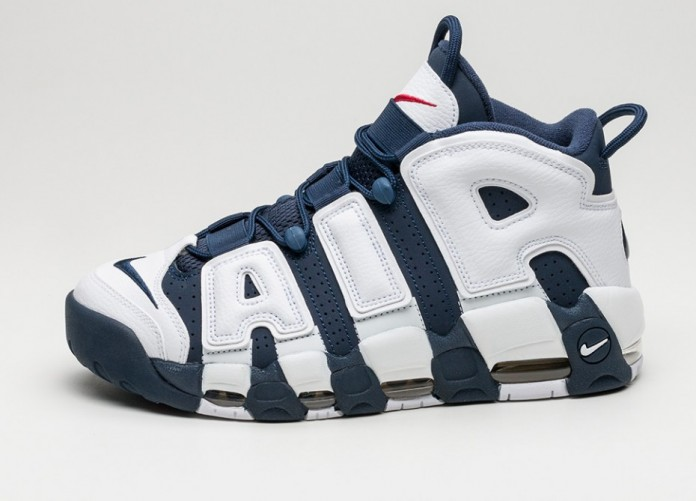 Мужские кроссовки Nike Air More Uptempo *Olympic* (White / Midnight Navy - Metallic Gold) | Интернет-магазин Sole