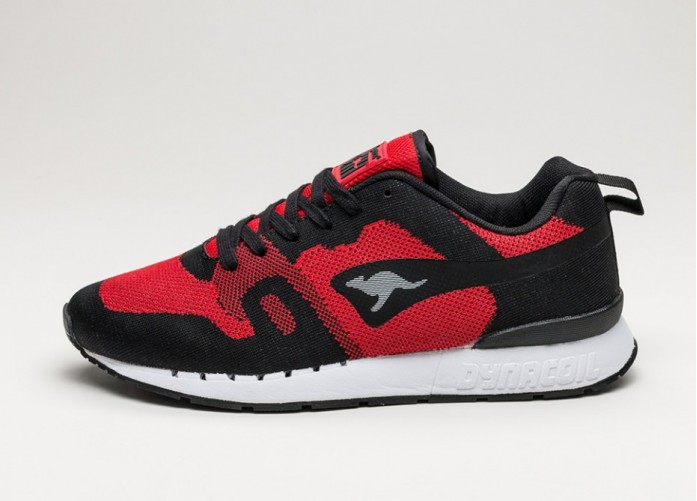 Мужские кроссовки Kangaroos Omnicoil Woven (Black / Flame Red) | Интернет-магазин Sole