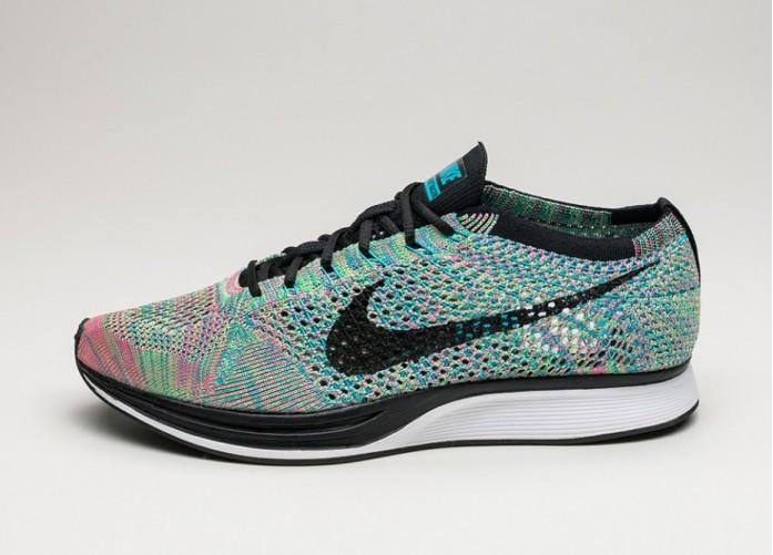 Мужские кроссовки Nike Flyknit Racer *Multicolor* (Green Strike / Black - Blue Lagoon - Pink Pow) | Интернет-магазин Sole