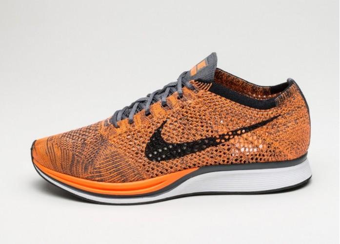 Мужские кроссовки Nike Flyknit Racer (Total Orange / White - Dark Grey) | Интернет-магазин Sole