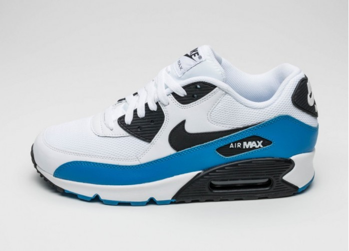 Мужские кроссовки Nike Air Max 90 Essential (White / Black - Photo Blue - Black) | Интернет-магазин Sole