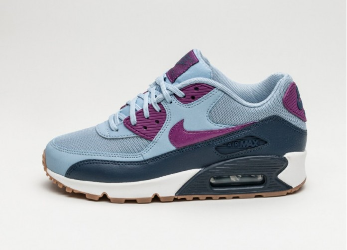 Женские кроссовки Nike Wmns Air Max 90 Essential (Blue Grey / Bright Grape - Midnight Navy) | Интернет-магазин Sole