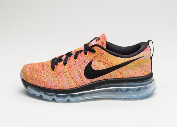 Женские кроссовки Nike Wmns Flyknit Max (Aluminum / Black - Hot Punch - Electrolime) | Интернет-магазин Sole