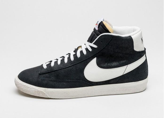 Мужские кроссовки Nike Blazer Mid Premium Vintage (Black / Sail - Black - White) | Интернет-магазин Sole
