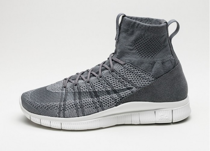 Мужские кроссовки Nike Free Flyknit Mercurial (Dark Grey / Wolf Grey - Summit White) | Интернет-магазин Sole