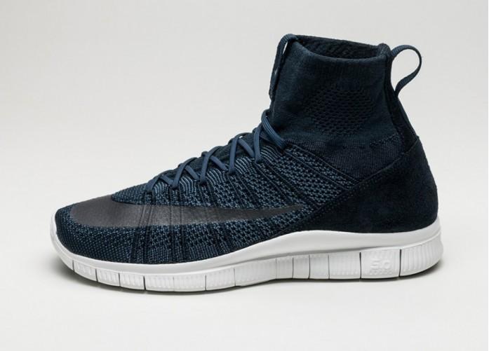 Мужские кроссовки Nike Free Flyknit Mercurial (Dark Obsidian / Squadron Blue - Summit White) | Интернет-магазин Sole