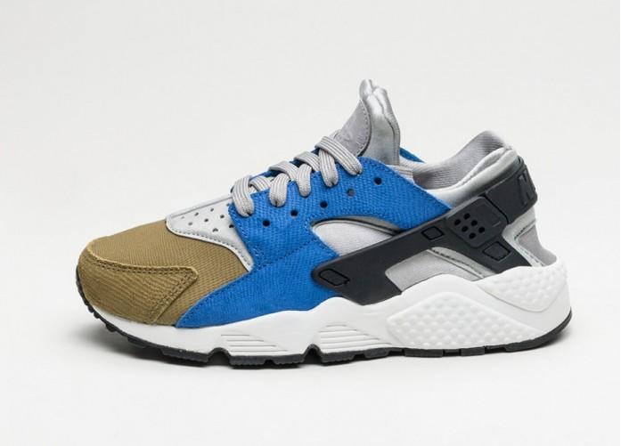 Мужские кроссовки Nike Wmns Air Huarache Run PRM (Matte Silver / Black - Game Royal - Olive Flak) | Интернет-магазин Sole