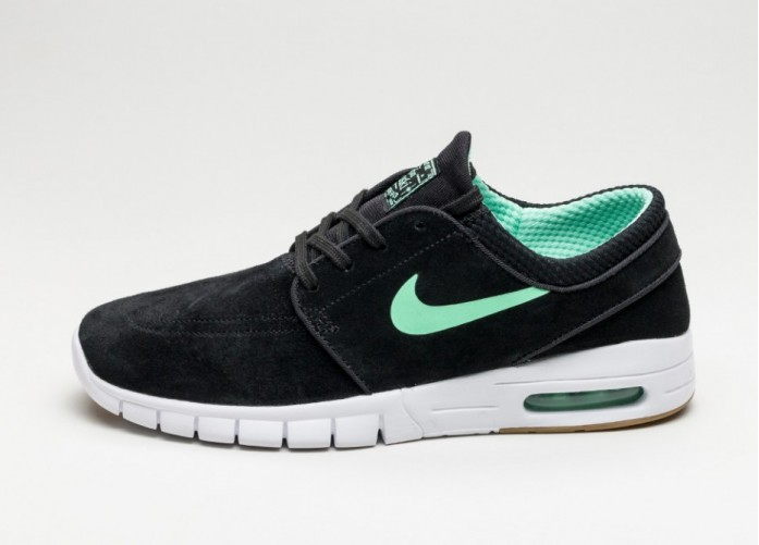 Мужские кроссовки Nike SB Stefan Janoski Max L (Black / Green Glow - White - Gum Light Brown) | Интернет-магазин Sole