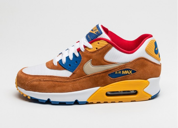Мужские кроссовки Nike Air Max 90 PRM (White / Metallic Gold Grain - Tawny - Gym Royal) | Интернет-магазин Sole