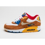 Мужские кроссовки Nike Air Max 90 PRM (White / Metallic Gold Grain - Tawny - Gym Royal), фото 1 | Интернет-магазин Sole