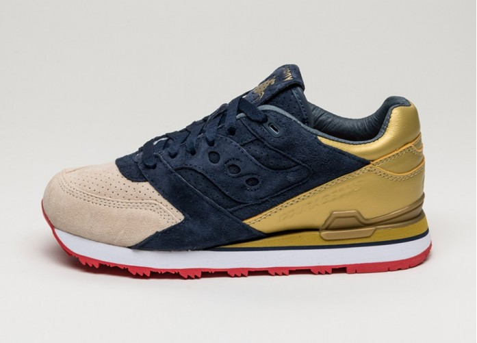 Мужские кроссовки Saucony x Sneaker Politics Courageous *Battle of New Orleans - The Jackson* (Navy / Gold) | Интернет-магазин Sole
