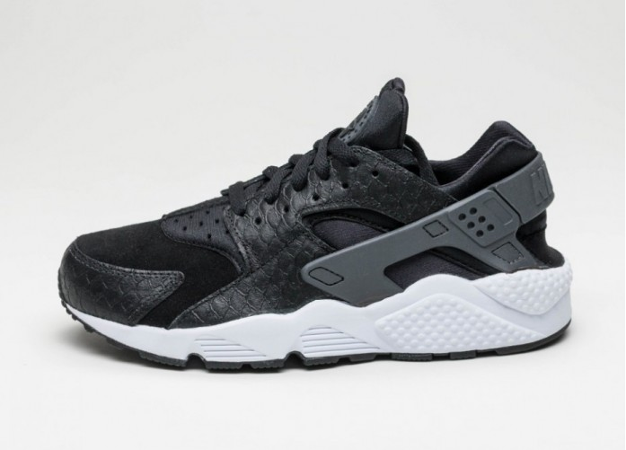 Мужские кроссовки Nike Air Huarache Run PRM (Black / Dark Grey - White) | Интернет-магазин Sole