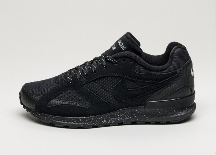 Мужские кроссовки Nike Air Pegasus New Racer PRM (Black / Black - Metallic Pewter) | Интернет-магазин Sole