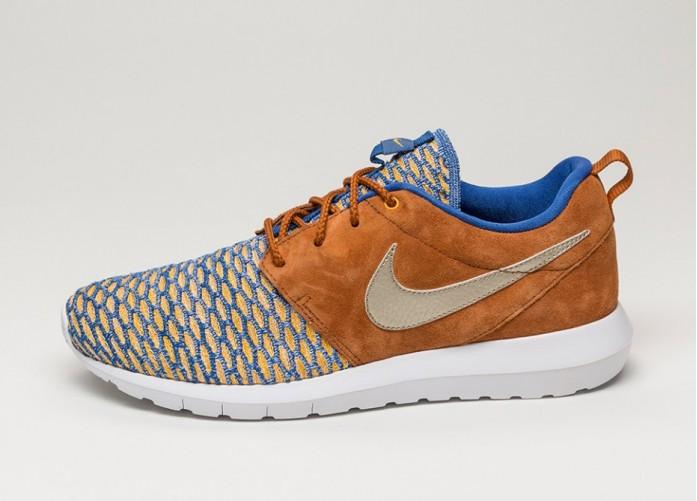 Мужские кроссовки Nike Roshe NM Flyknit PRM (Game Royal / Metallic Gold Grain - Tawny) | Интернет-магазин Sole