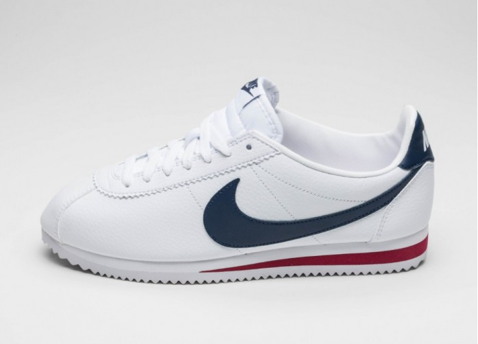 Мужские кроссовки Nike Classic Cortez Leather (White / Midnight Navy - Gym Red) | Интернет-магазин Sole