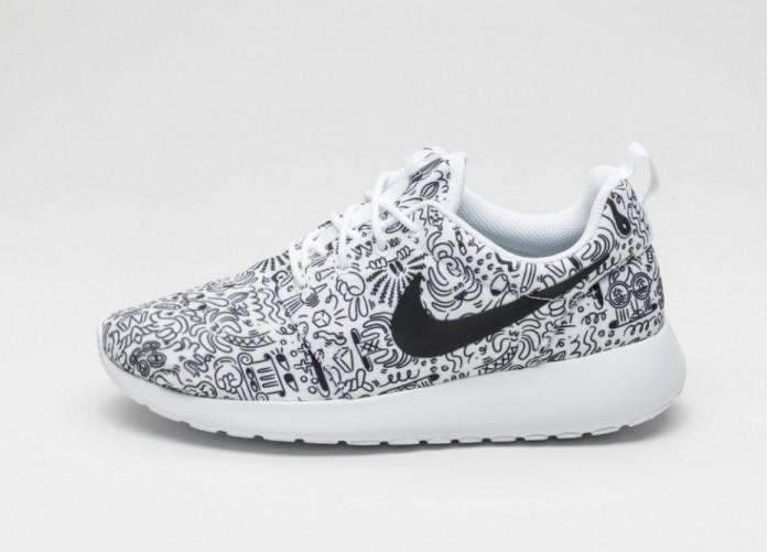 Мужские кроссовки Nike Wmns Roshe One Print PRM (White / Black) | Интернет-магазин Sole