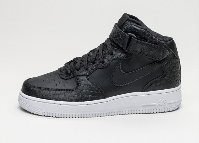 Мужские кроссовки Nike Air Force 1 Mid \'07 LV8 (Black / Black - White) | Интернет-магазин Sole