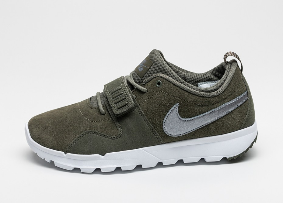 311fa9c64287 Мужские кроссовки Nike SB Trainerendor L (Cargo Khaki   Metallic Cool Grey  - White -