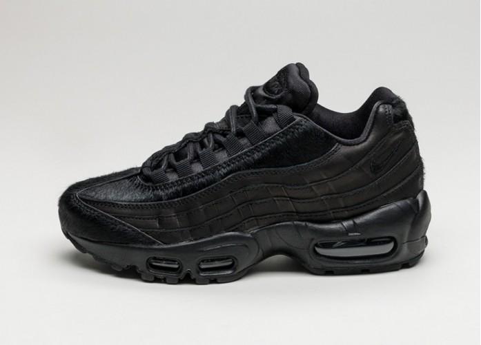 Женские кроссовки Nike Wmns Air Max 95 PRM *Black Pony Hair Pack* (Black / Black - Summit White) | Интернет-магазин Sole