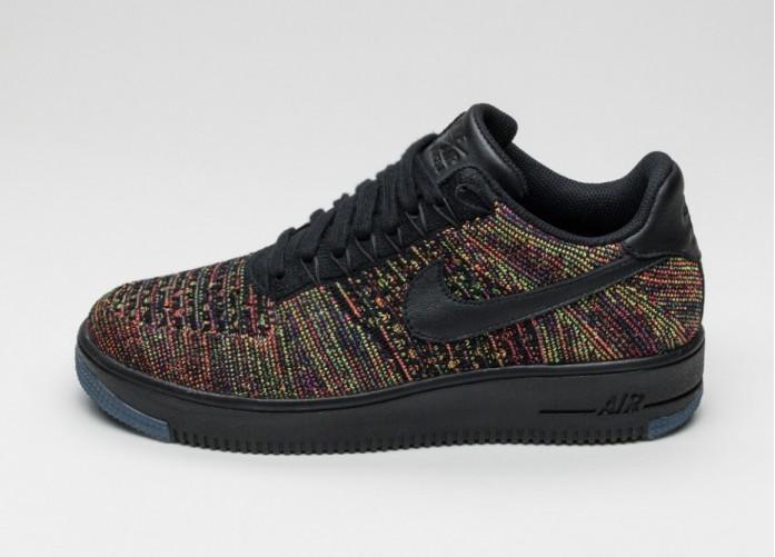 Мужские кроссовки Nike Air Force 1 Ultra Flyknit Low (Black / Black - Bright Crimson - Court Purple) | Интернет-магазин Sole
