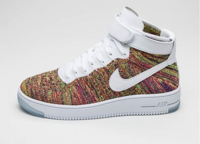 Мужские кроссовки Nike Air Force 1 Ultra Flyknit Mid (Volt / White - Bright Crimson - Court Purple) | Интернет-магазин Sole