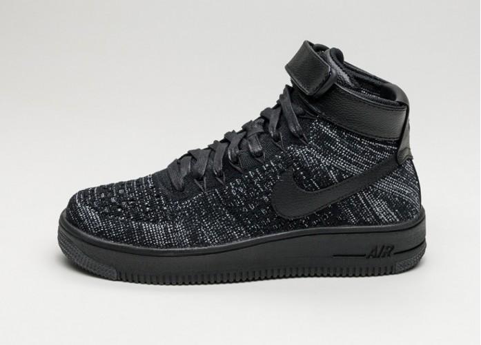 Женские кроссовки Nike Wmns Air Force 1 Flyknit (Black / Black - White) | Интернет-магазин Sole