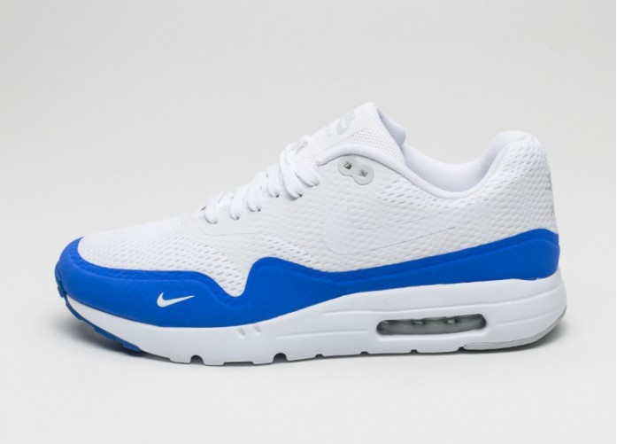 Мужские кроссовки Nike Air Max 1 Ultra Essential (White / White - Pure Platinum - Racer Blue) | Интернет-магазин Sole
