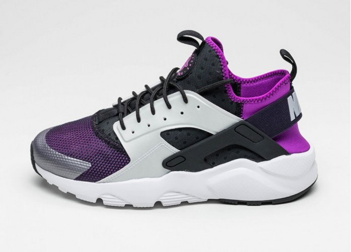 Мужские кроссовки Nike Air Huarache Run Ultra (Black / Wolf Grey - Hyper Volt - Purple Dynasty) | Интернет-магазин Sole
