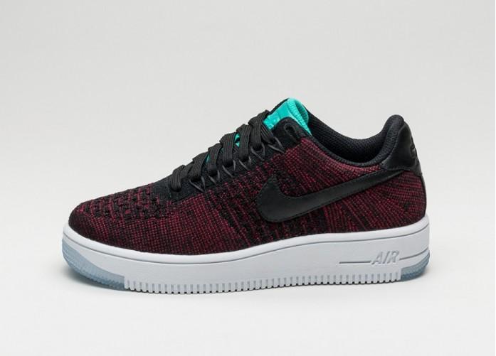 Мужские кроссовки Nike Wmns Air Force 1 Flyknit Low (Black / Black - Team Red - Clear Jade) | Интернет-магазин Sole