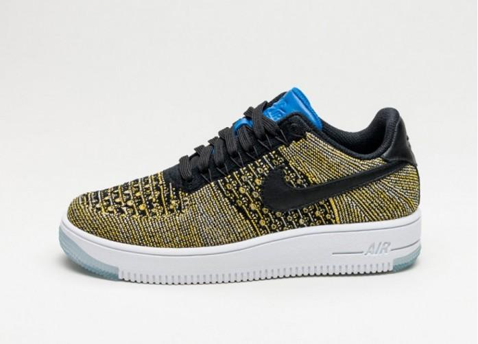 Мужские кроссовки Nike Wmns Air Force 1 Flyknit Low (Black / Black - Blue Tint - Game Royal) | Интернет-магазин Sole