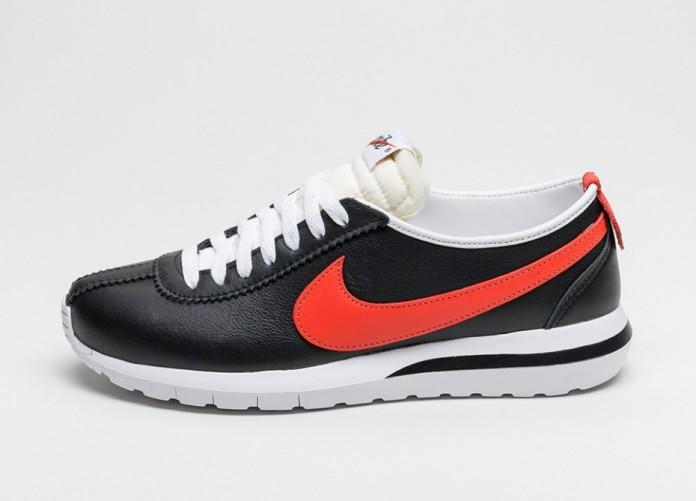 Мужские кроссовки Nike Roshe Cortez NM Leather (Black / Team Orange - White - Safety Orange) | Интернет-магазин Sole
