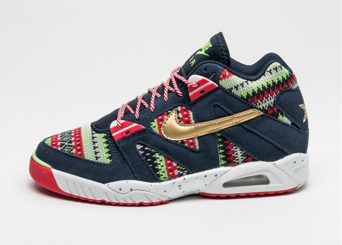 Мужские кроссовки Nike Air Tech Challenge III QS *Christmas* (Dark Obsidian / Metallic Gold - University Red) | Интернет-магазин Sole