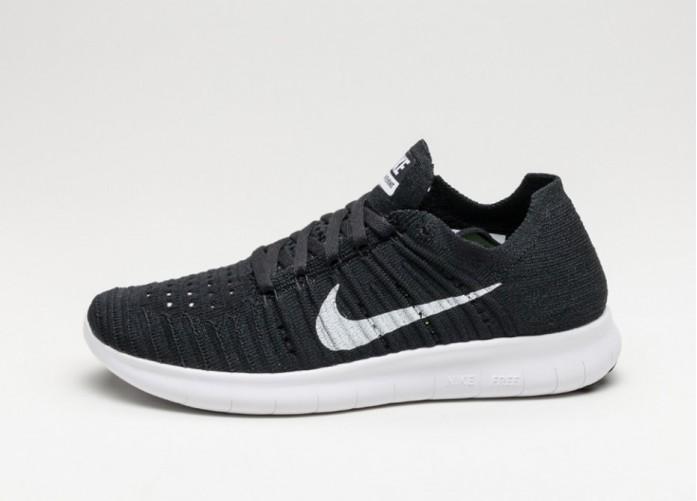 Мужские кроссовки Nike Wmns Free RN Flyknit (Black / White) | Интернет-магазин Sole