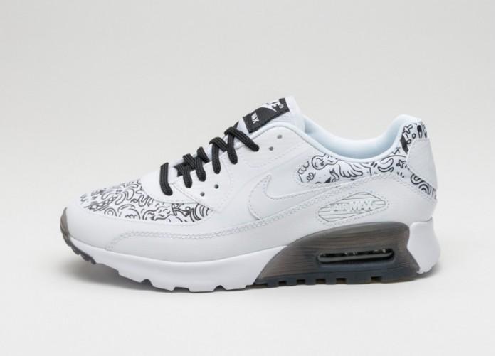 Мужские кроссовки Nike Wmns Air Max 90 Ultra Print (White / White - Black) | Интернет-магазин Sole