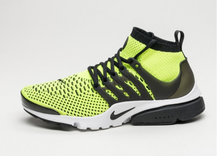 Мужские кроссовки Nike Air Presto Flyknit Ultra (Volt / Black - White) | Интернет-магазин Sole