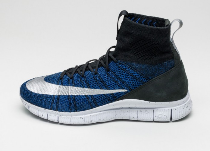 Мужские кроссовки Nike Free Flyknit Mercurial FC (Black / Racer Blue - White - Metallic Silver)   Интернет-магазин Sole