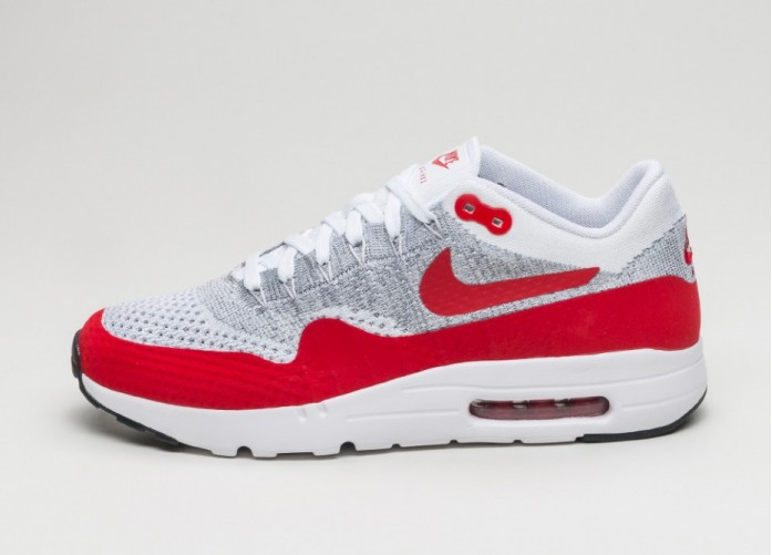 Nike Air Max 1 Ultra Flyknit (White University Red Pure Platinum Cool Grey)