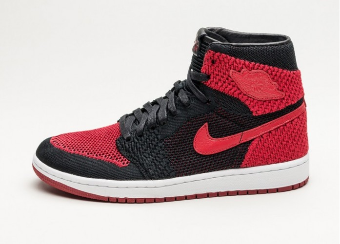 Мужские кроссовки Nike Air Jordan 1 Retro High Flyknit (Black / Varsity Red - White) | Интернет-магазин Sole