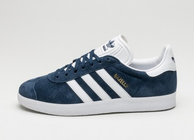 Мужские кроссовки adidas Gazelle - Collegiate Navy/White/Gold Metallic)